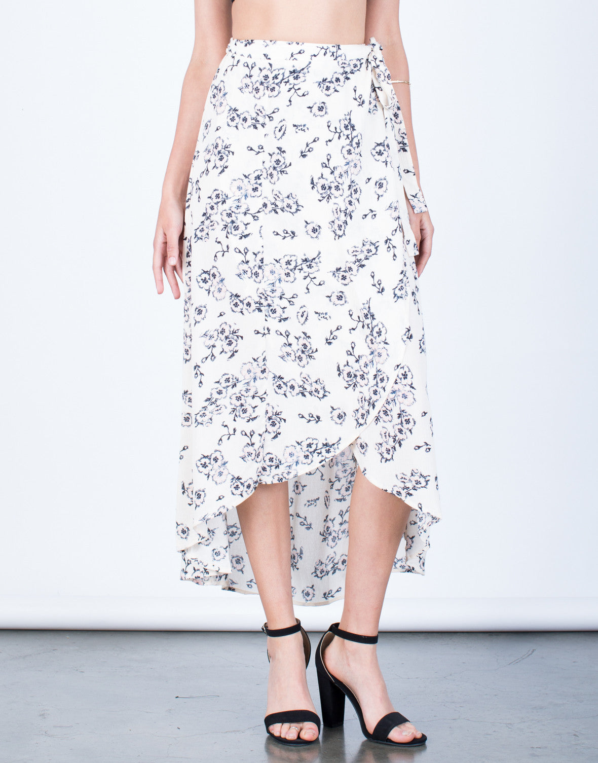 Front View of Flowy Floral Wrap Skirt