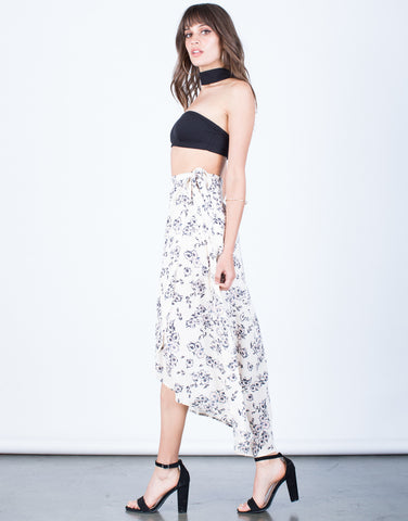 Side View of Flowy Floral Wrap Skirt