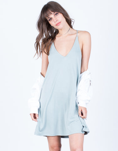 Front View of Flowy Knit Cami Dress