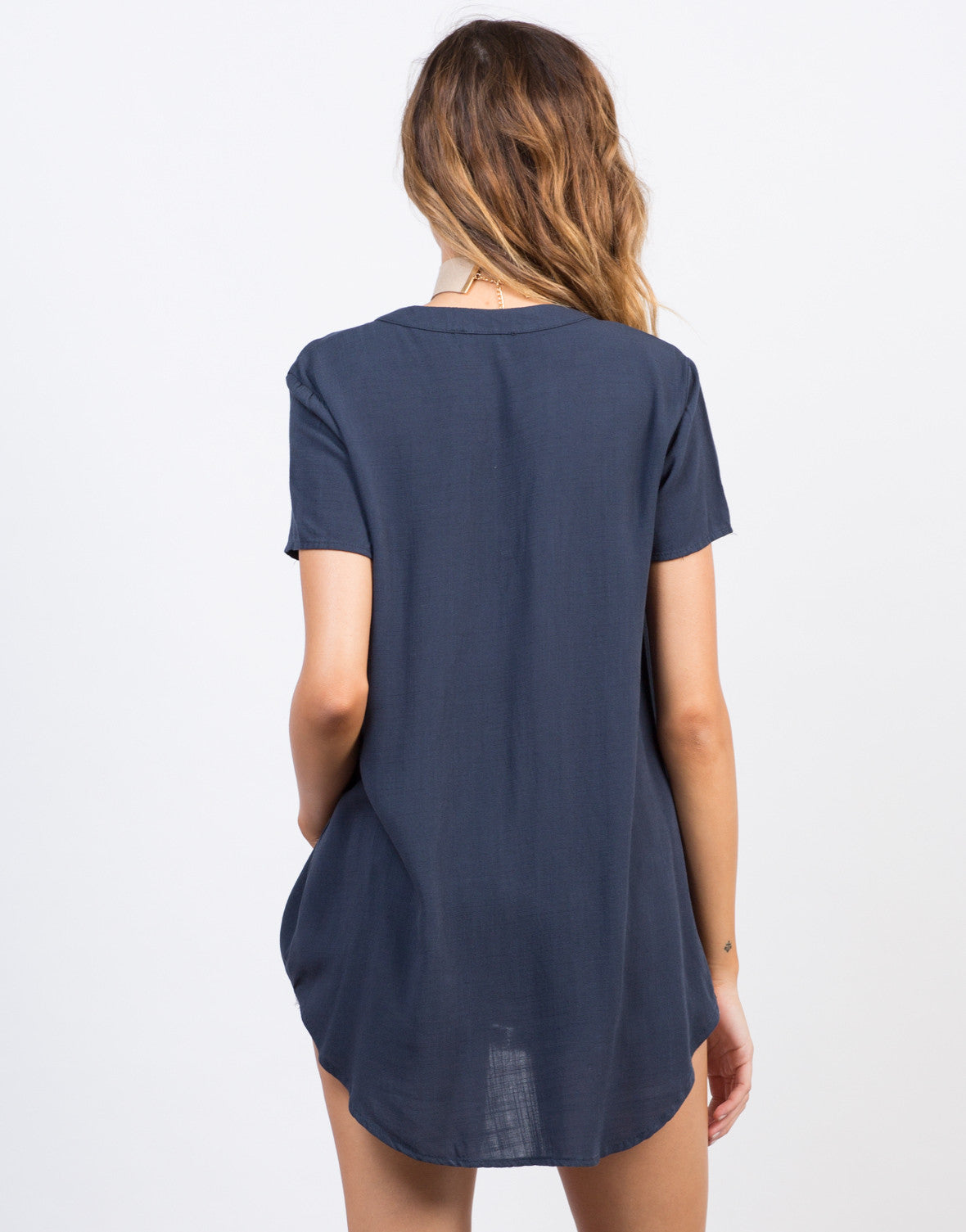 Back View of Flowy Lace-Up Blouse