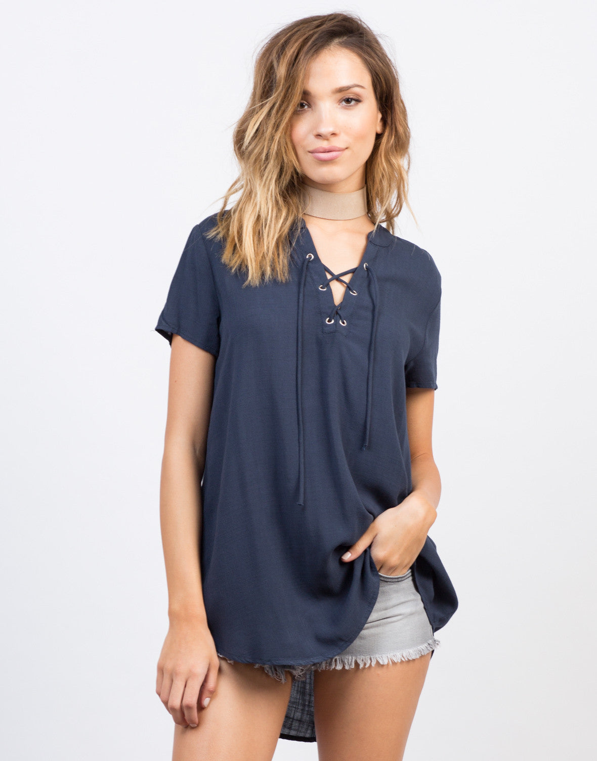 Front View of Flowy Lace-Up Blouse