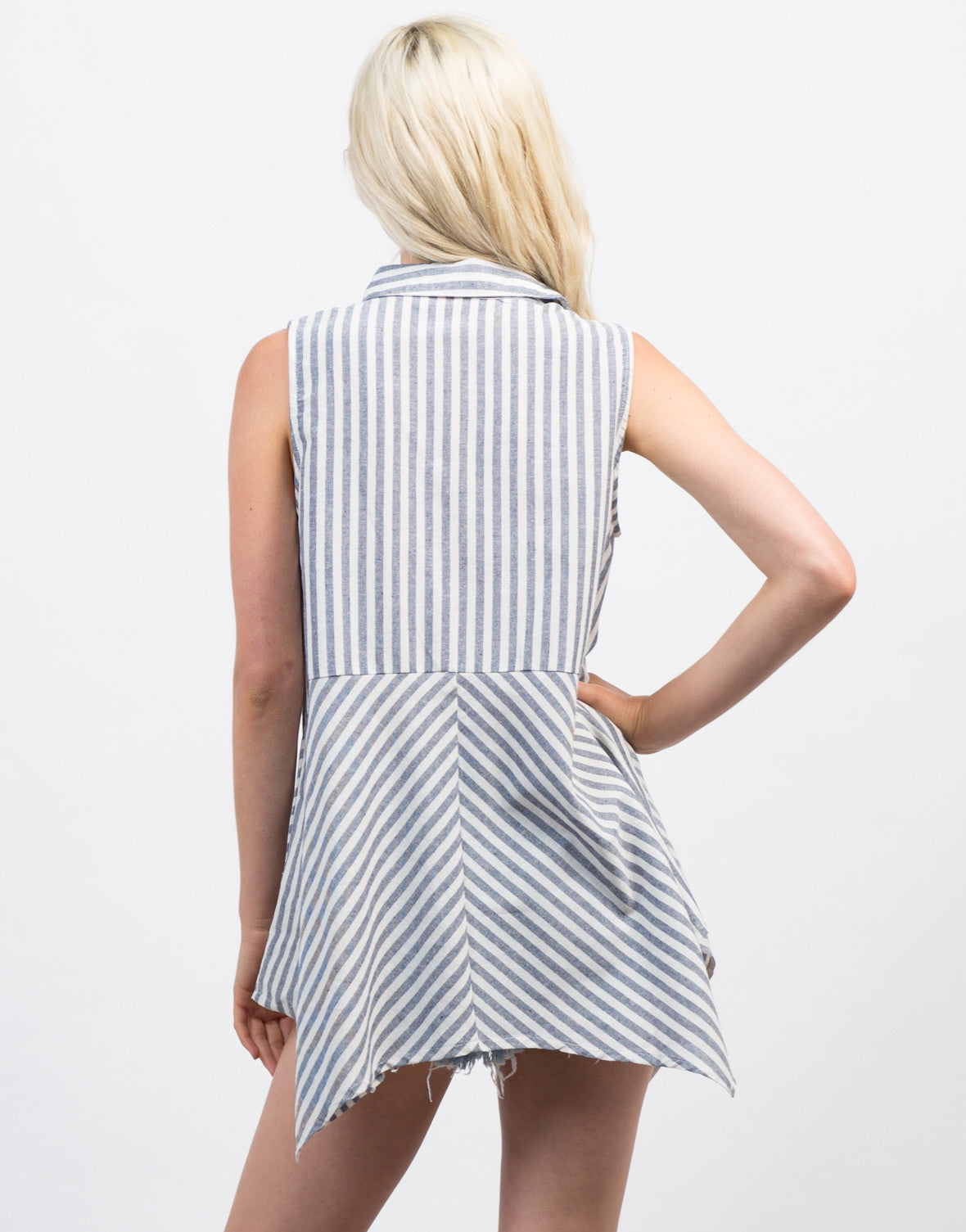 Back View of Flowy Linen Striped Tank