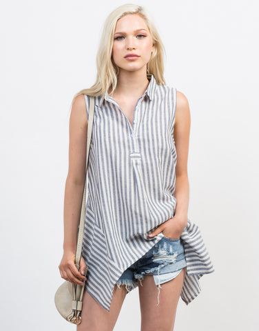 Front View of Flowy Linen Striped Tank