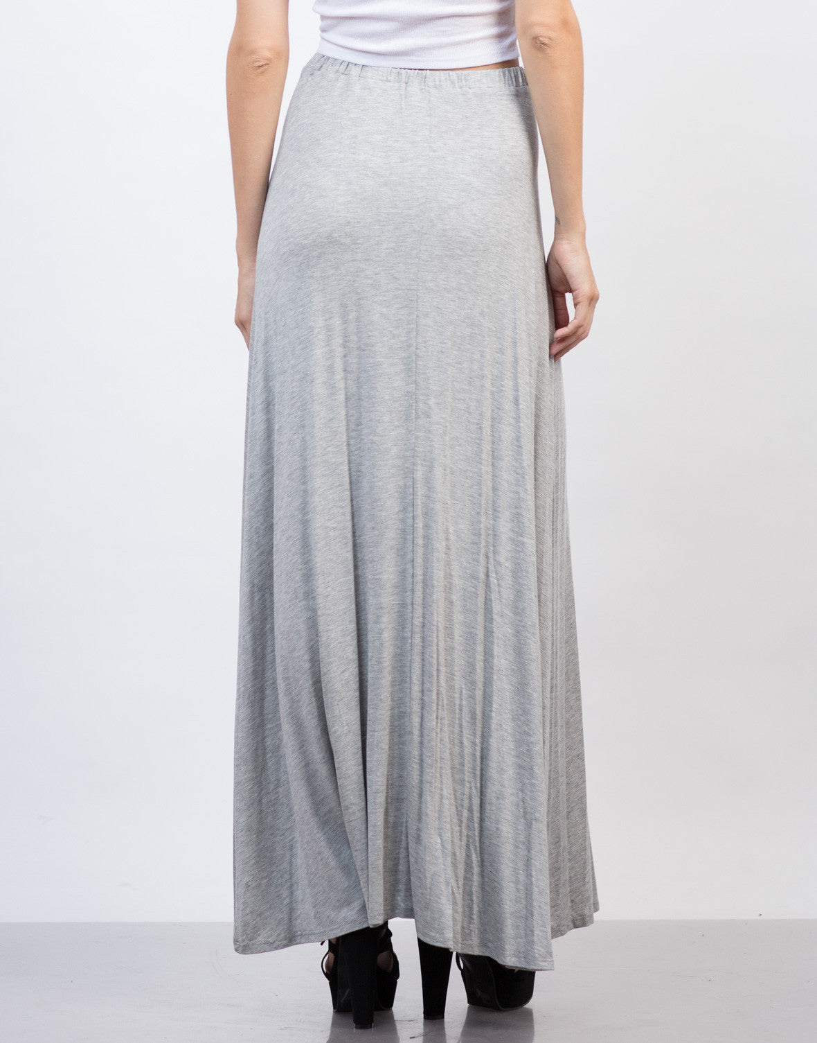 Back View of Flowy Maxi Skirt