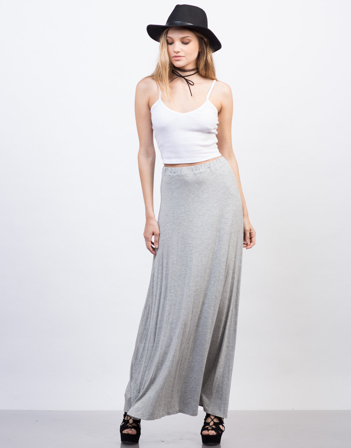 Front View of Flowy Maxi Skirt