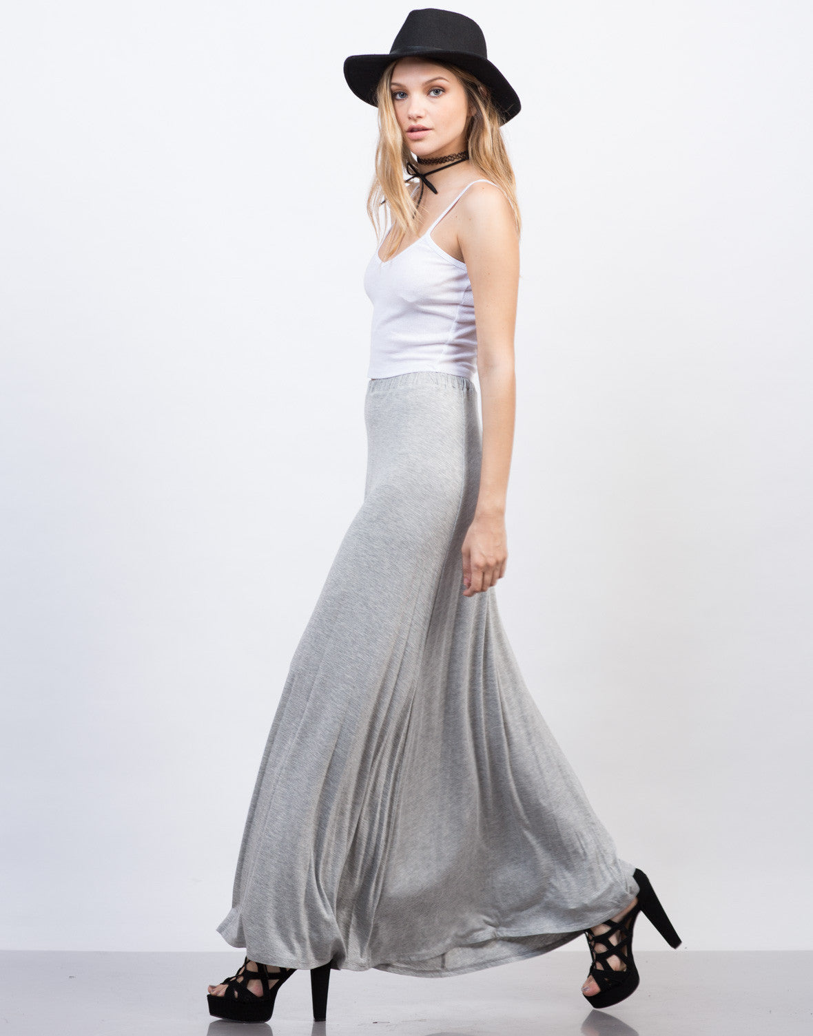 Side View of Flowy Maxi Skirt