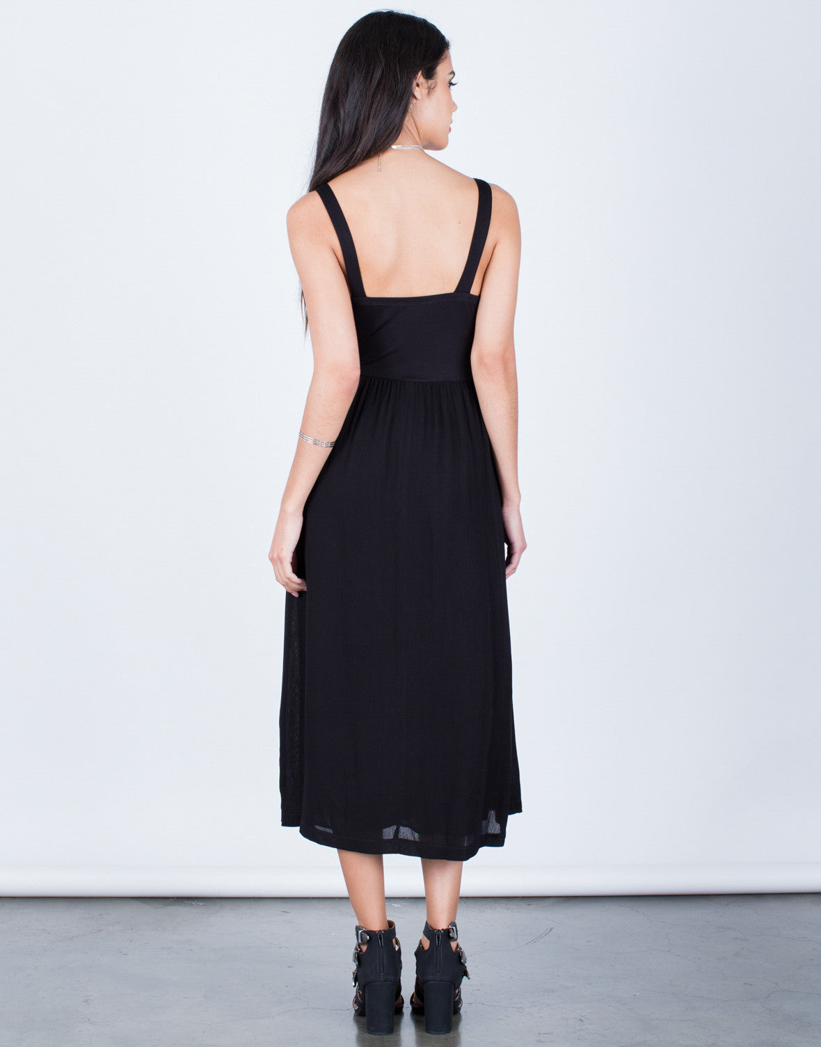 Back View of Flowy Midi Dress