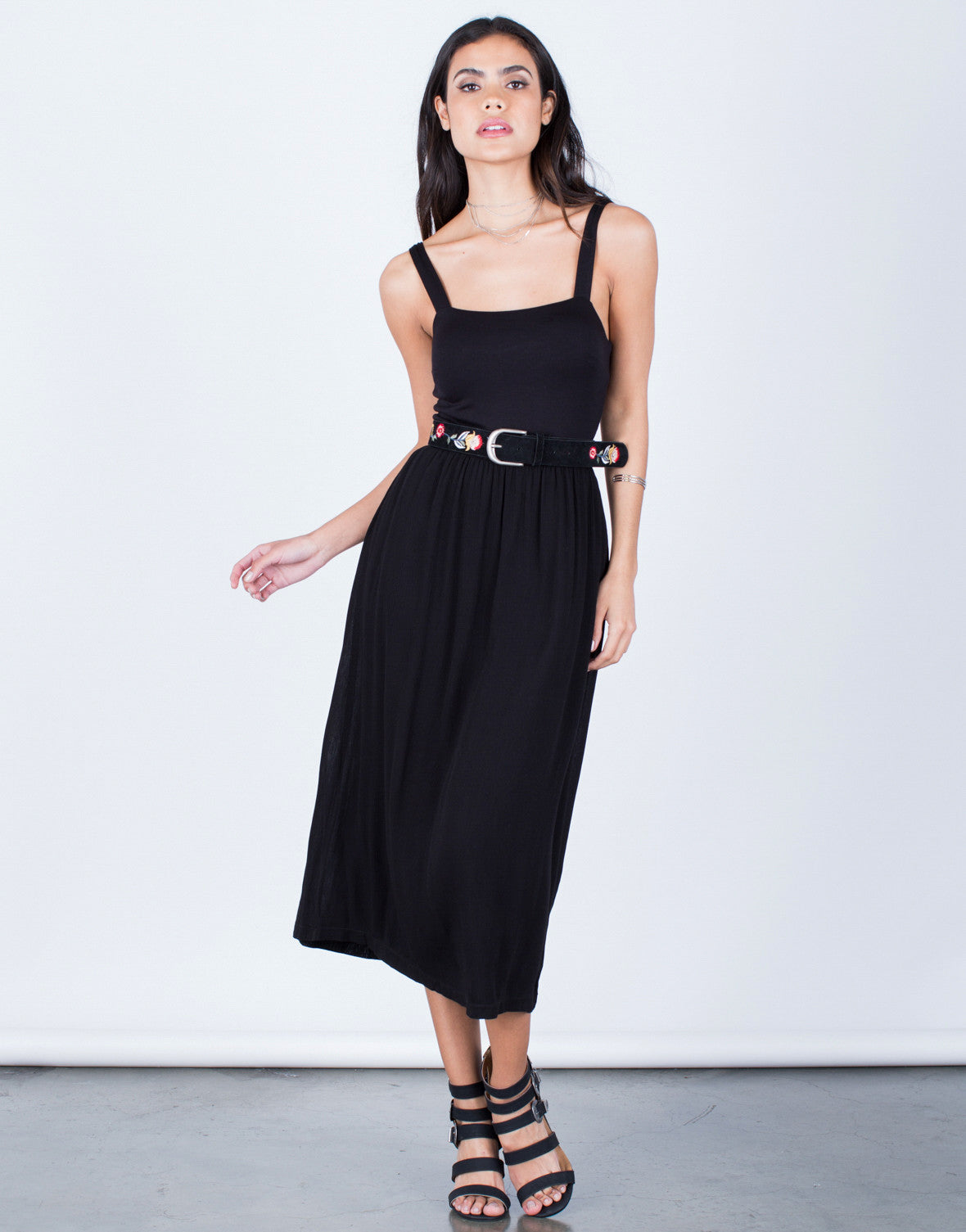 Front View of Flowy Midi Dress