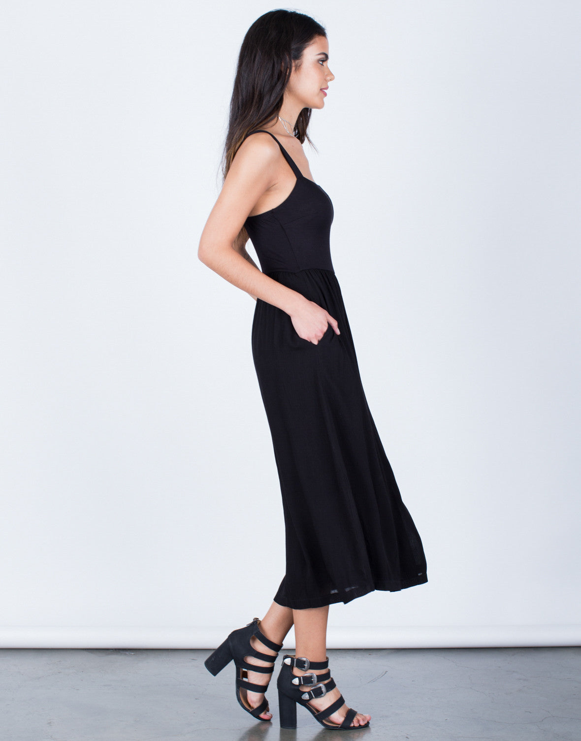 Side View of Flowy Midi Dress