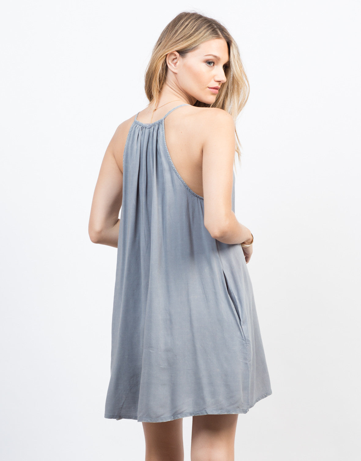 Back View of Flowy Midnight Dress