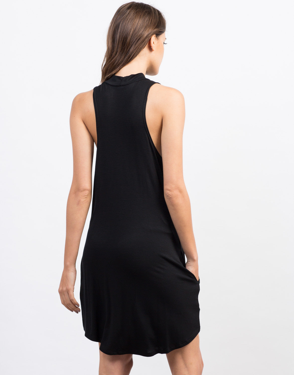 Back View of Flowy Mock Neck Day Dress