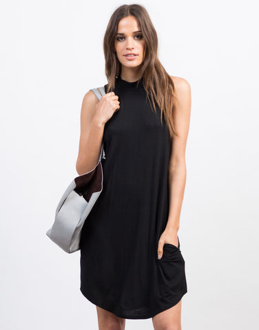 Front View of Flowy Mock Neck Day Dress