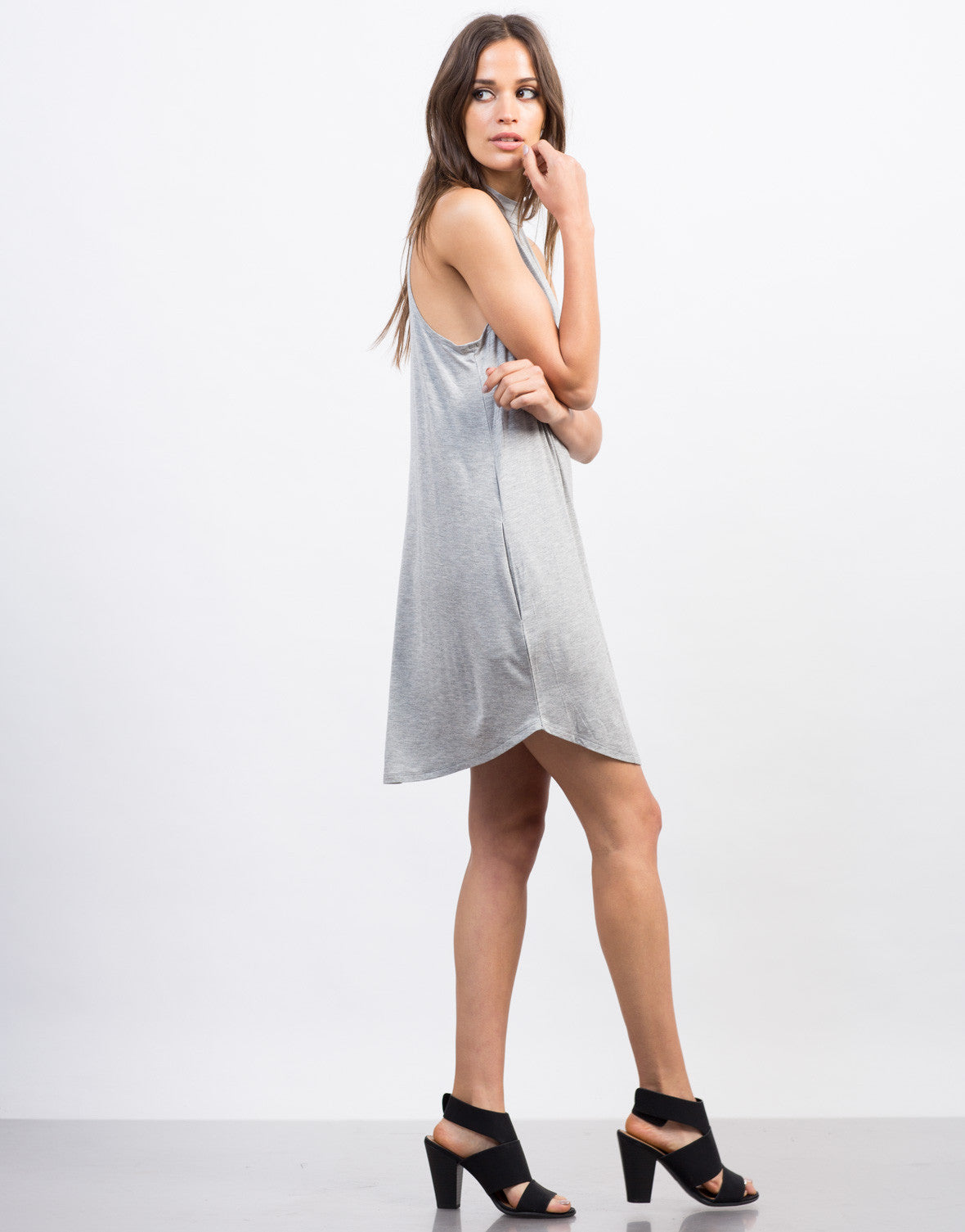 Side View of Flowy Mock Neck Day Dress