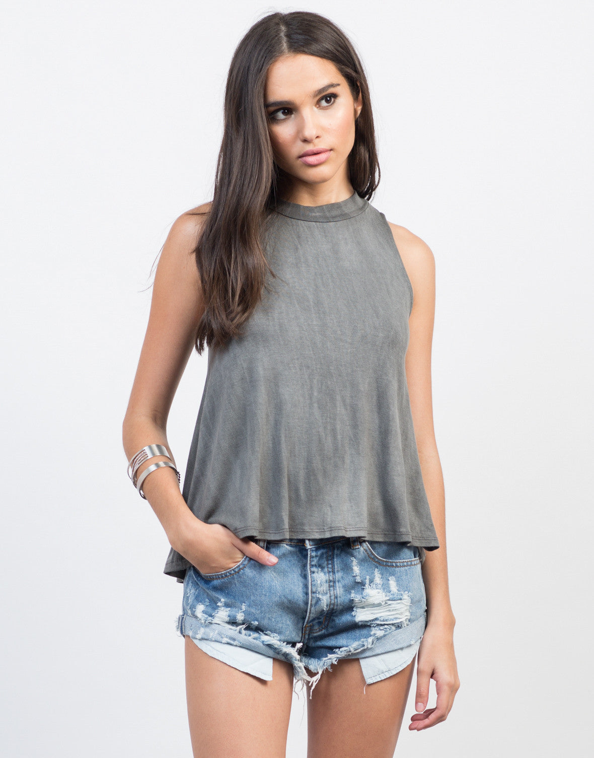 Front View of Flowy Mock Neck Keyhole Top