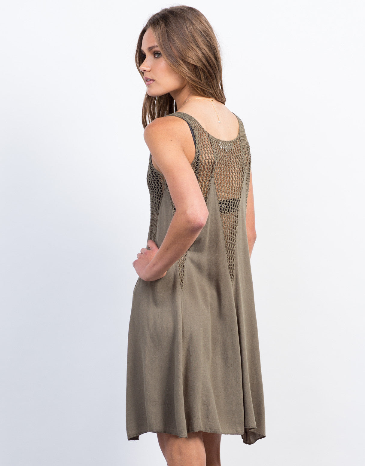 Back View of Flowy Netted Day Dress