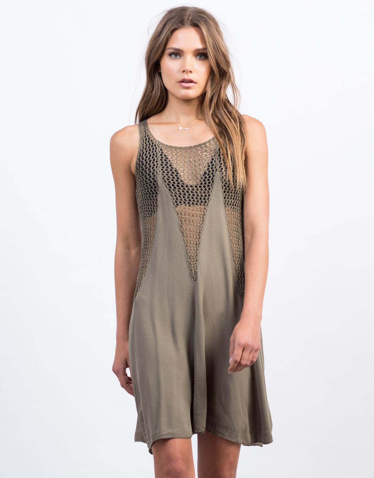 Front View of Flowy Netted Day Dress