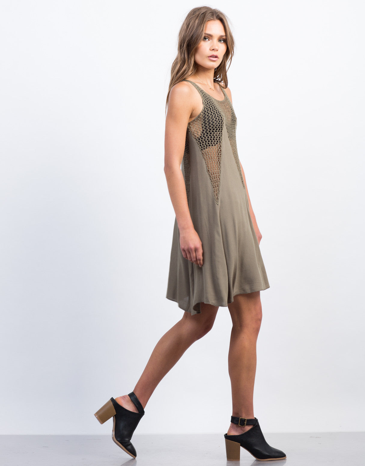 Side View of Flowy Netted Day Dress