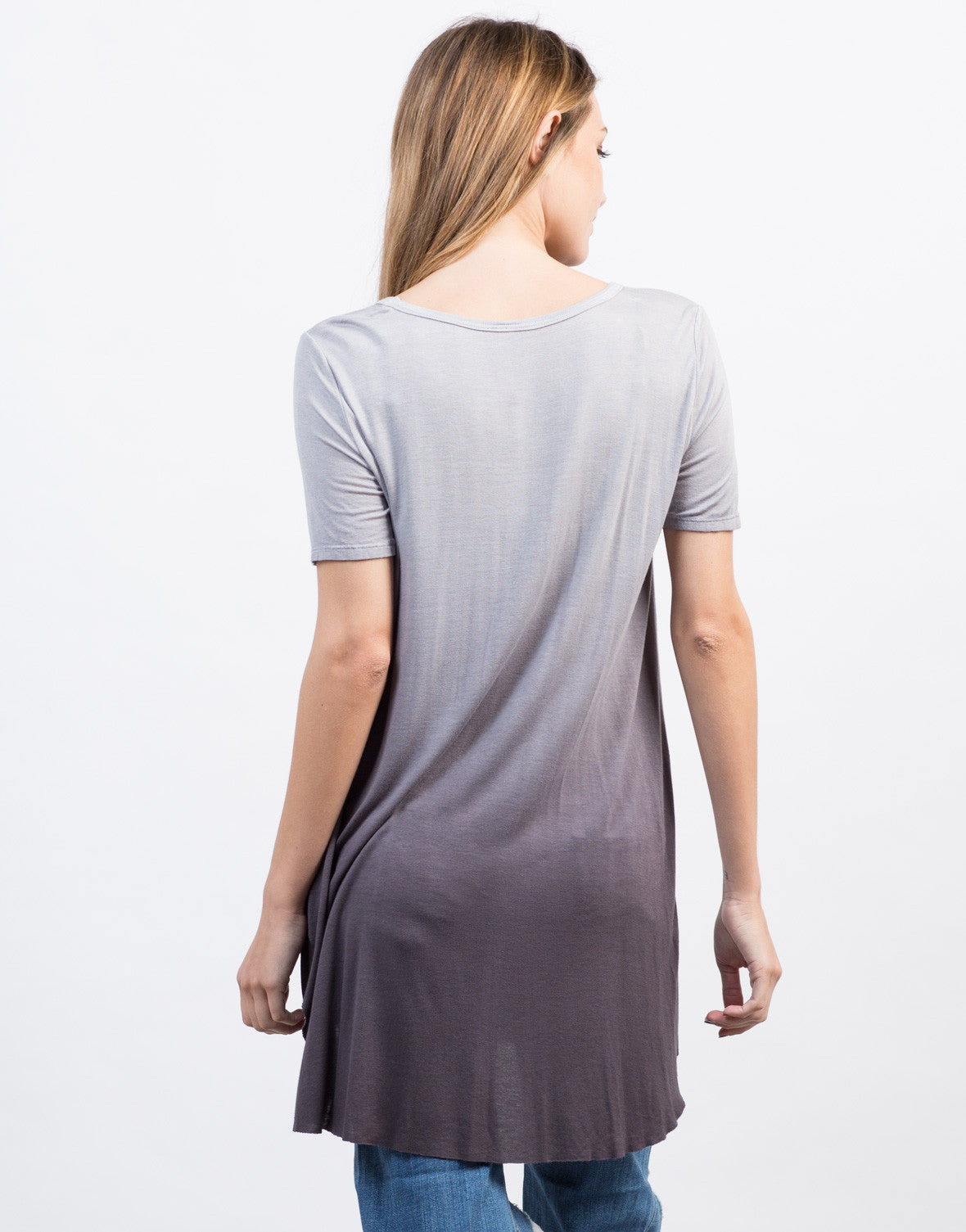 Back View of Flowy Ombre Tunic Top