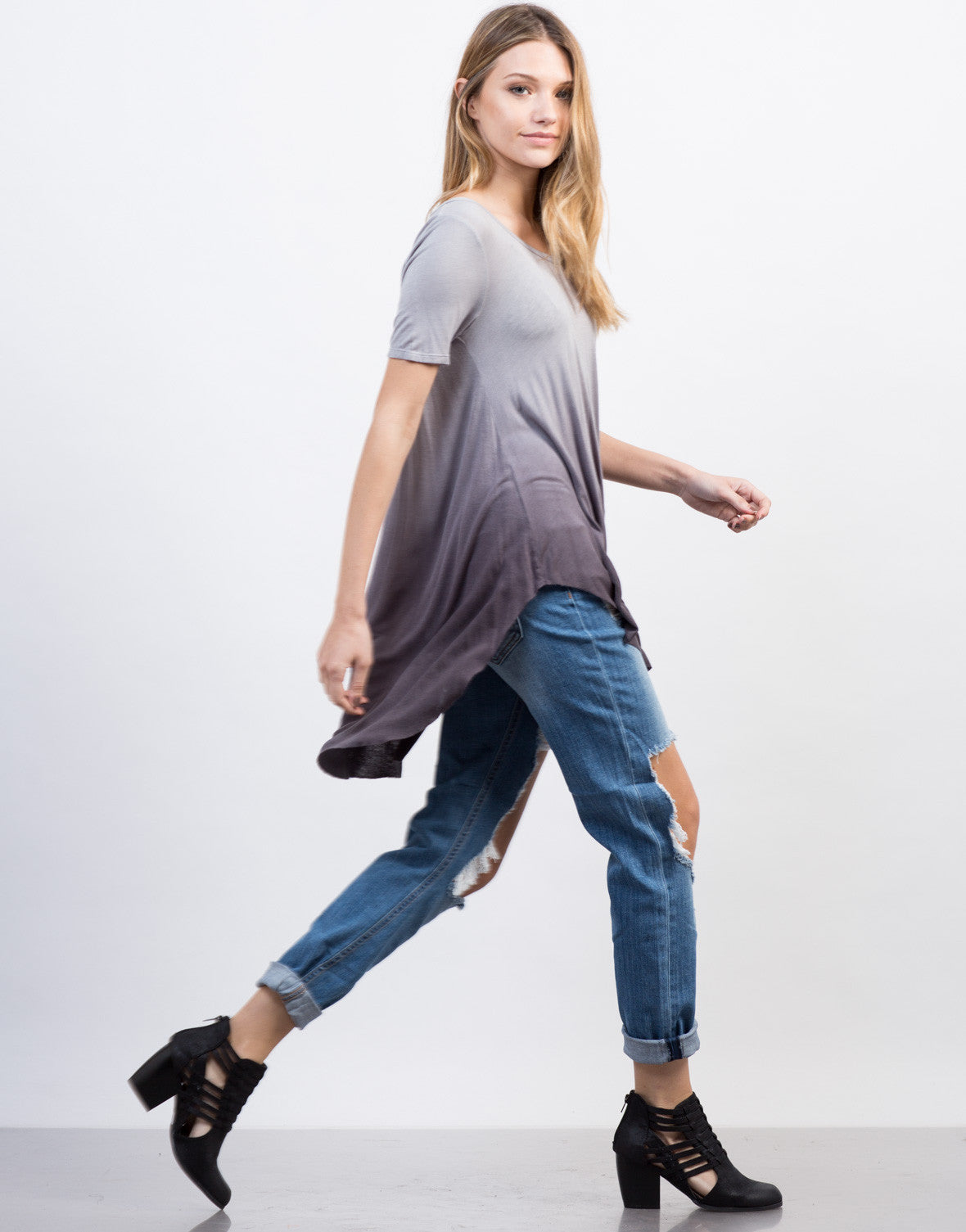 Side View of Flowy Ombre Tunic Top