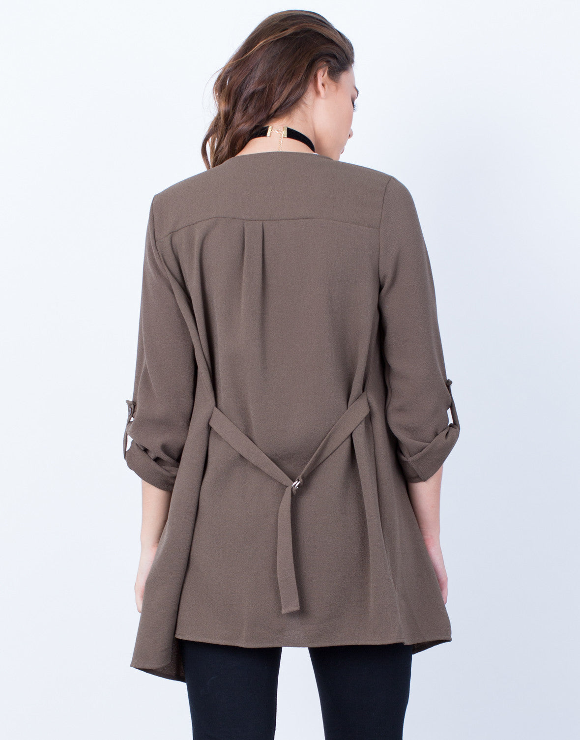 Back View of Flowy Open Cardigan