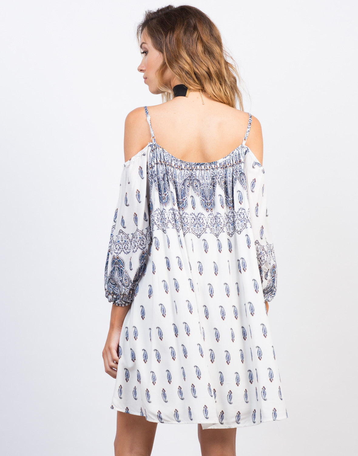 Back View of Flowy Paisley Dress