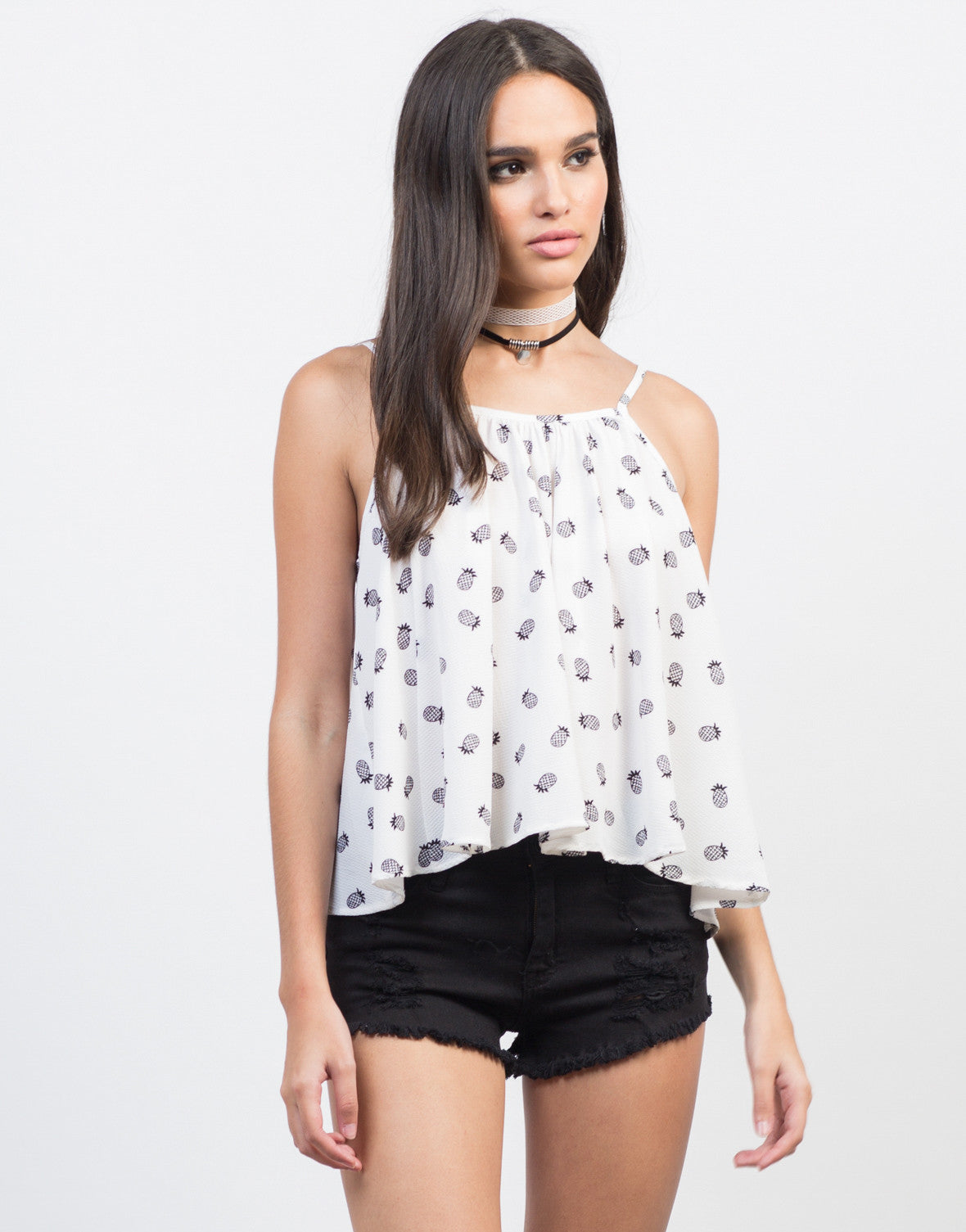 Front View of Flowy Pineapple Cami Tank