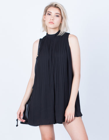 Front View of Flowy Pleated Romper