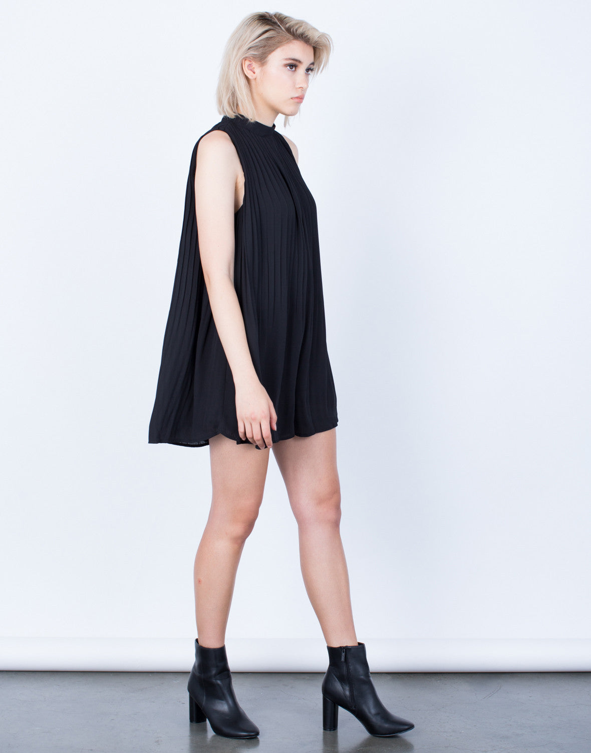 Side View of Flowy Pleated Romper