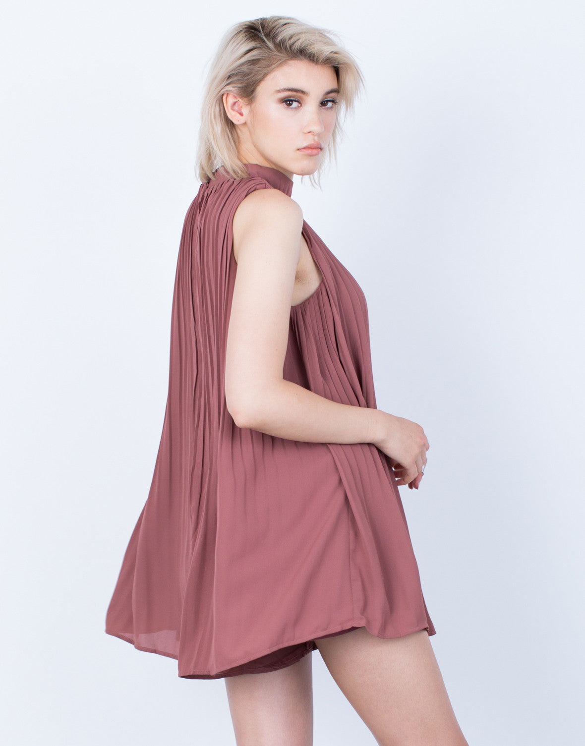 Back View of Flowy Pleated Romper