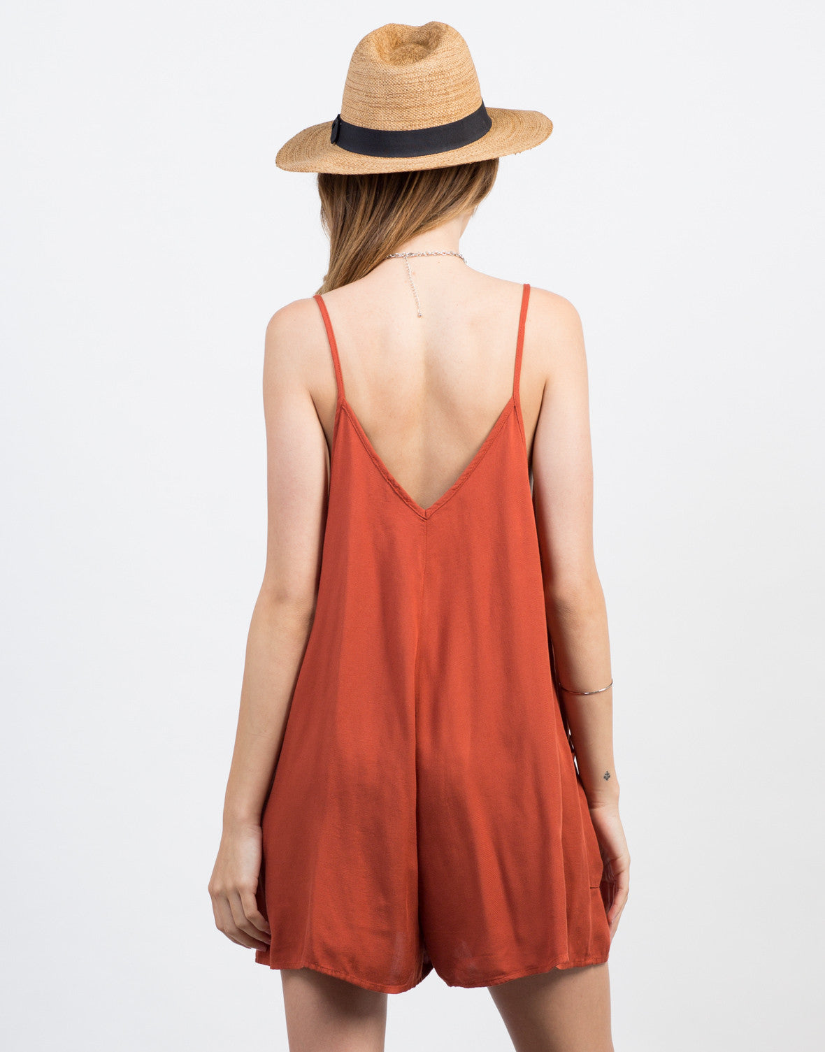 Back View of Flowy Pocket Romper