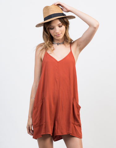 Front View of Flowy Pocket Romper