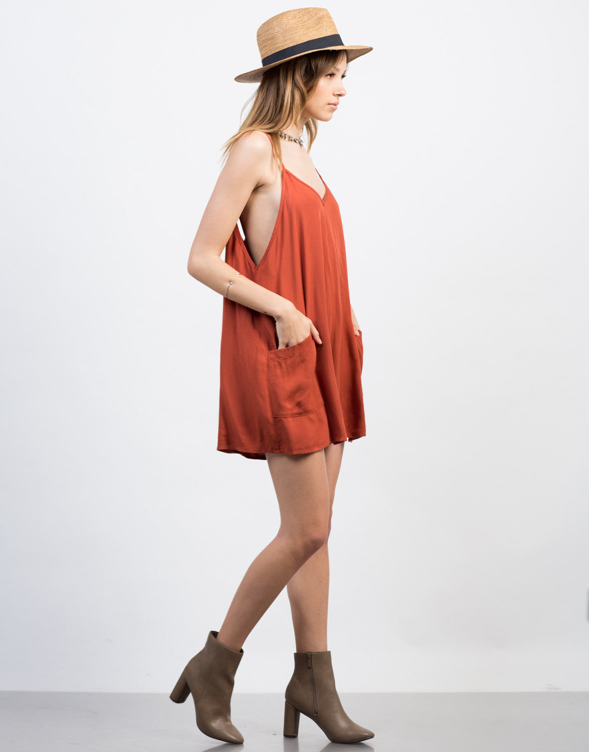 Side View of Flowy Pocket Romper