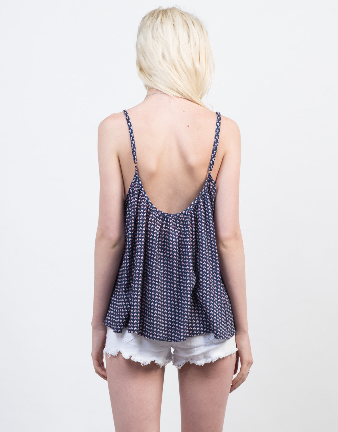 Back View of Flowy Printed Cami Top