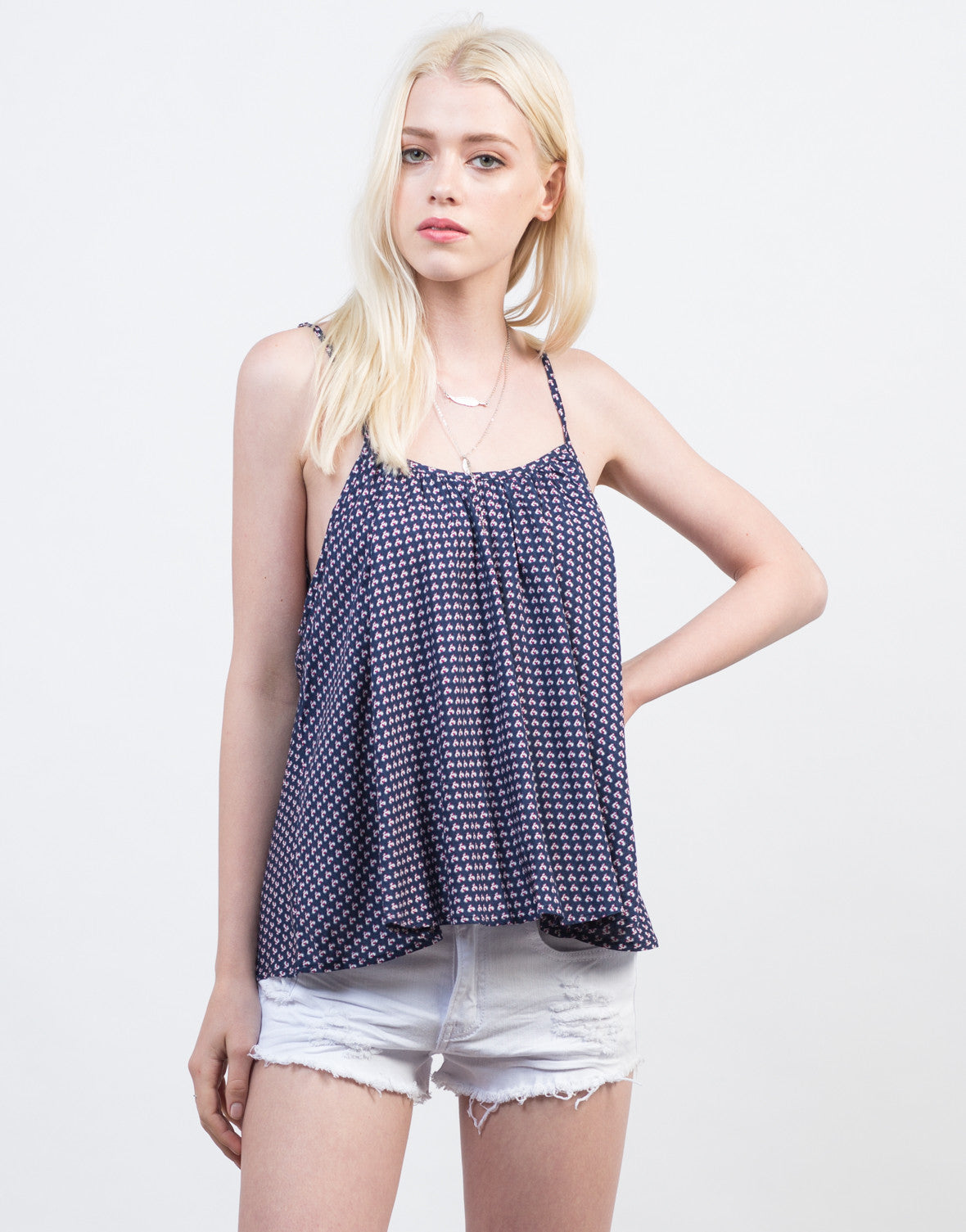 Front View of Flowy Printed Cami Top