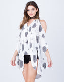 Front View of Flowy Printed Cold Shoulder Top