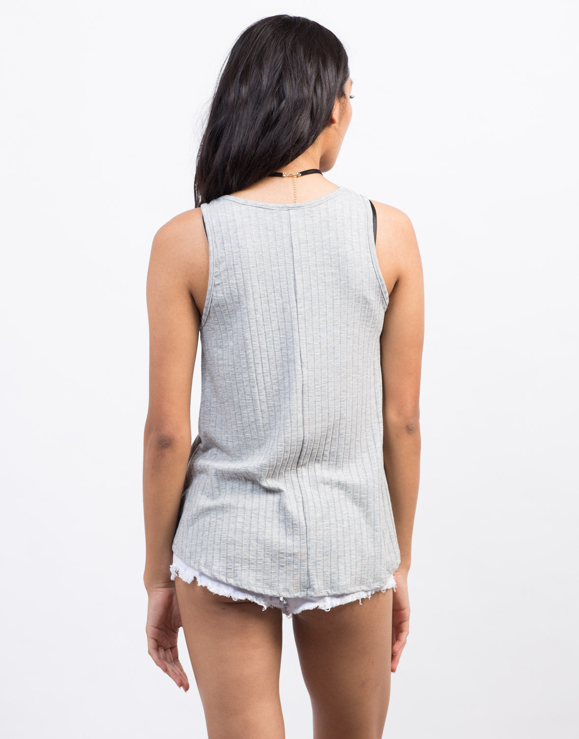 Back View of Flowy Rib Knit Tank Top