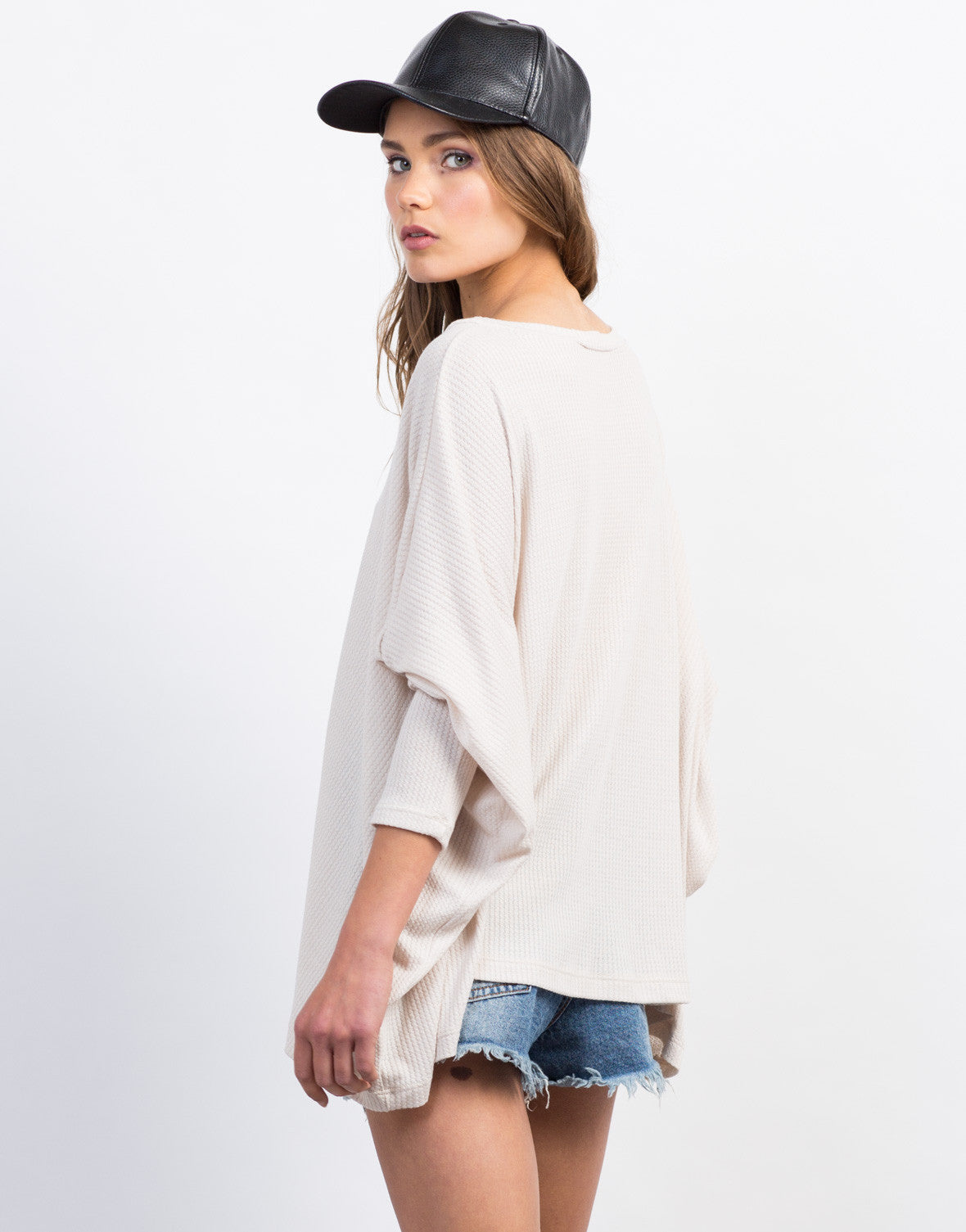 Back View of Flowy Ribbed Dolman Top