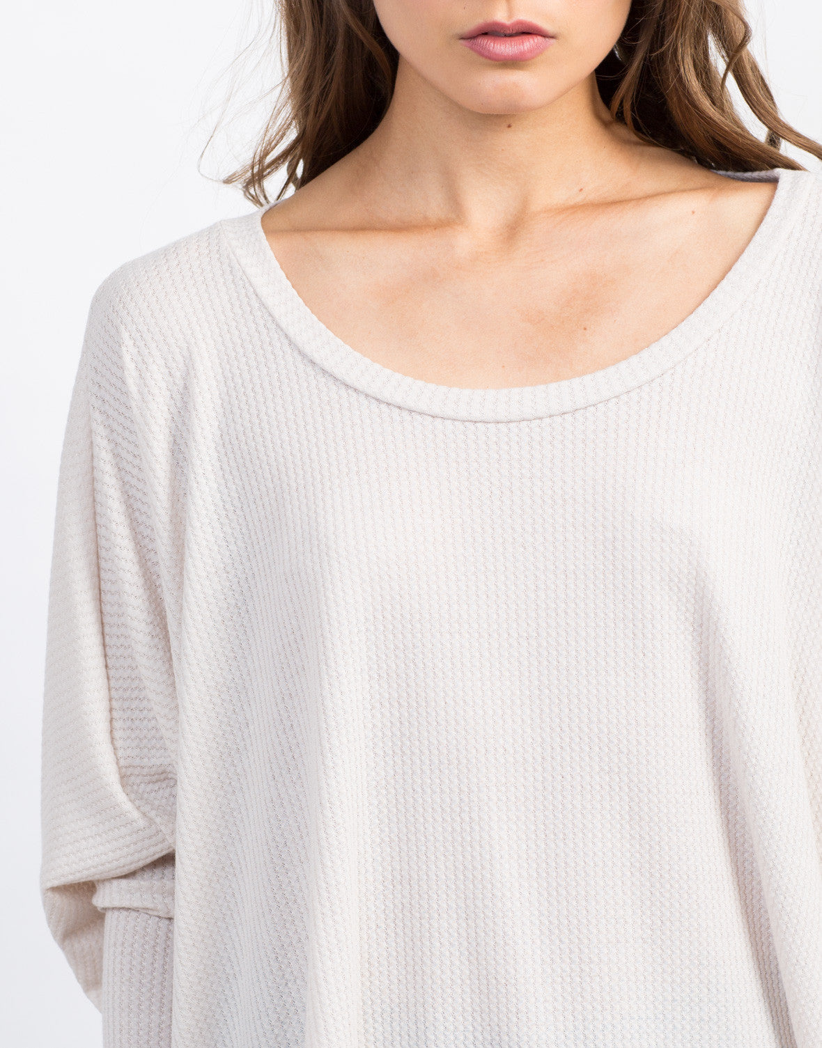 Detail of Flowy Ribbed Dolman Top
