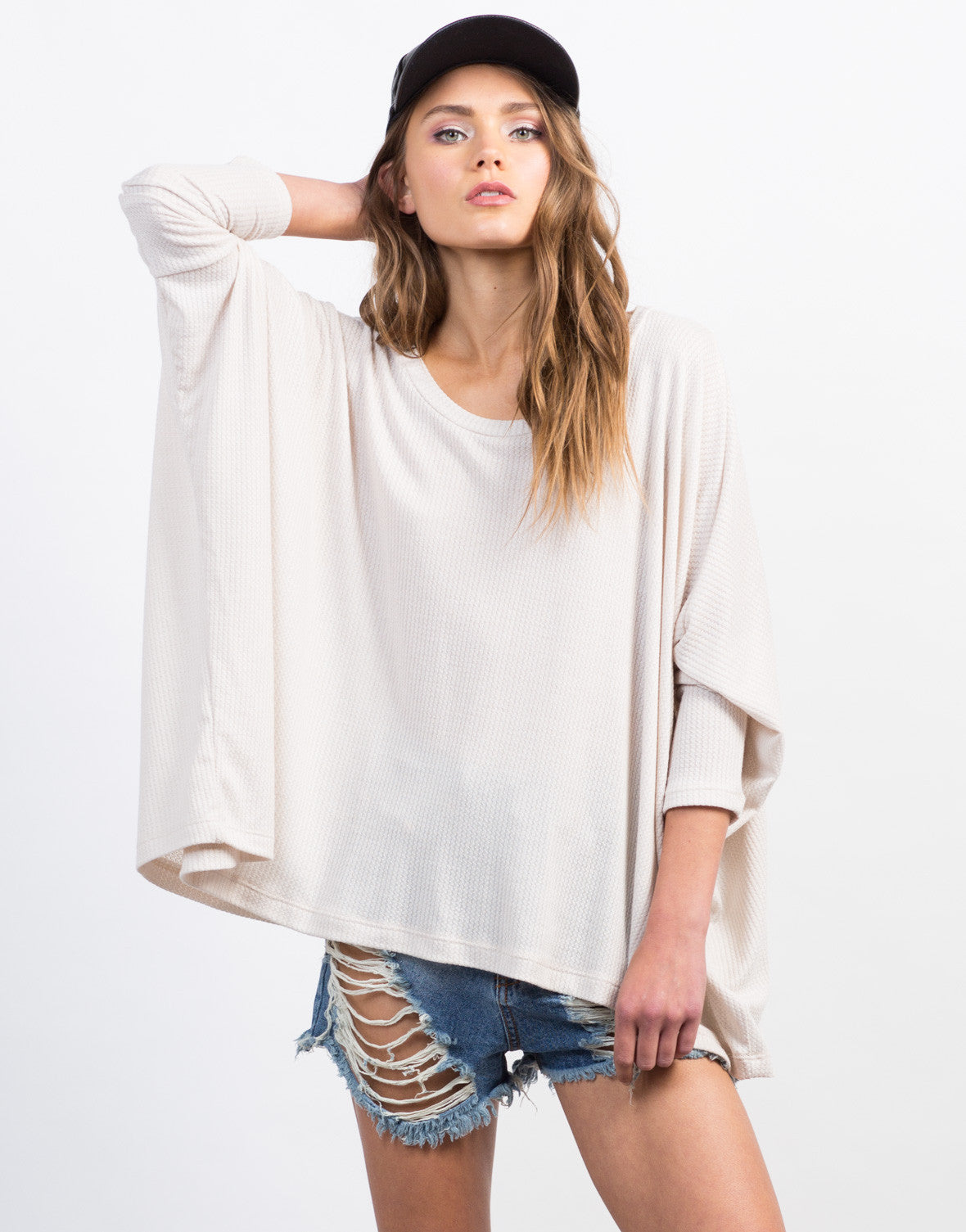Front View of Flowy Ribbed Dolman Top