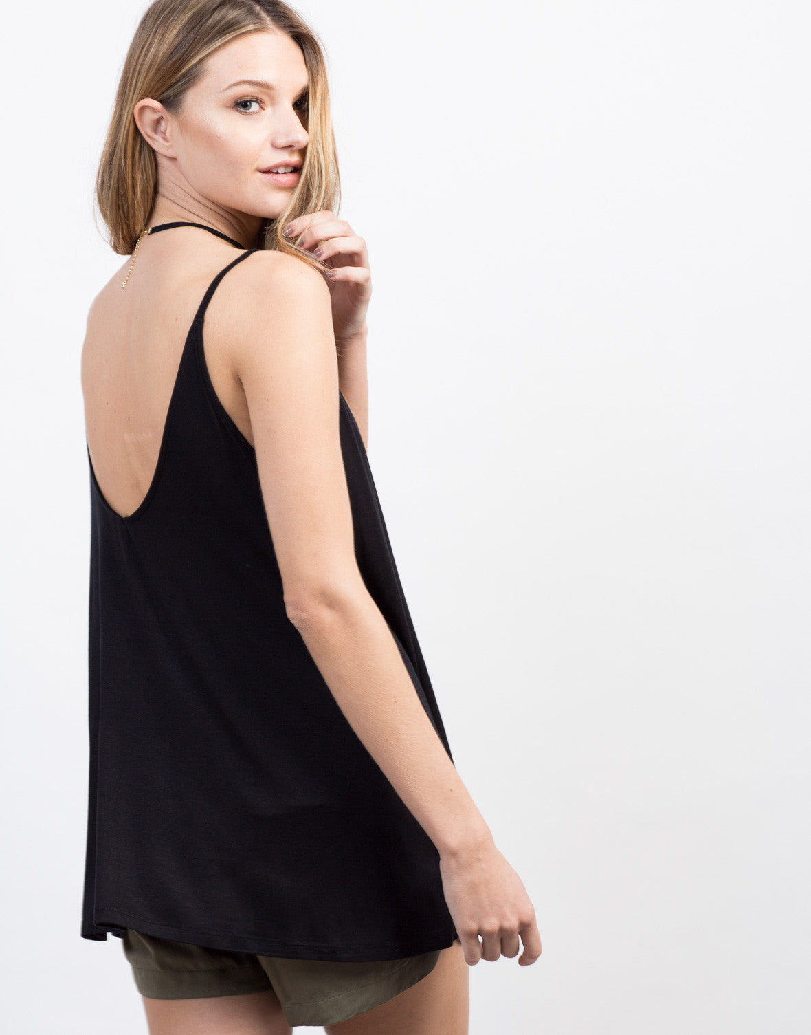 Detail of Flowy Scoop Back Tank