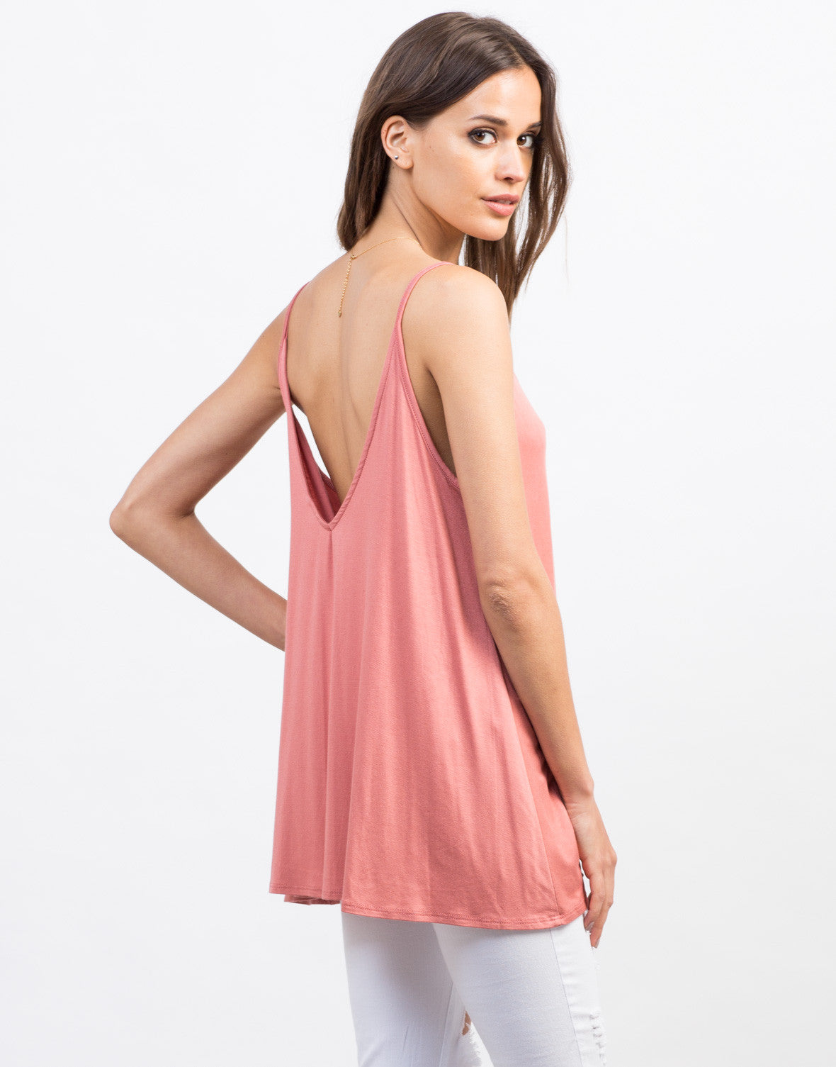 Back View of Flowy Scoop Back Tank