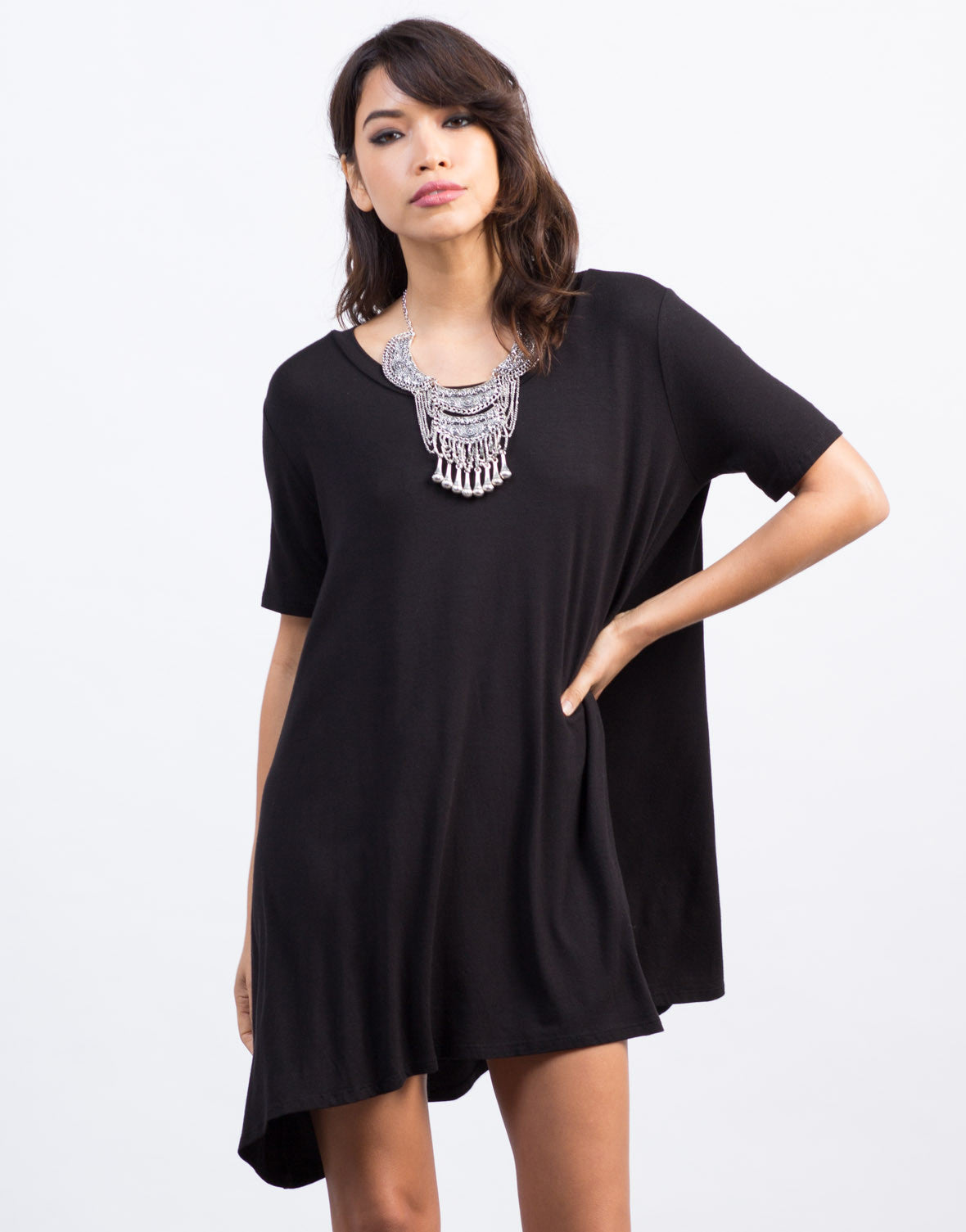 Front View of Flowy Shirt Dress