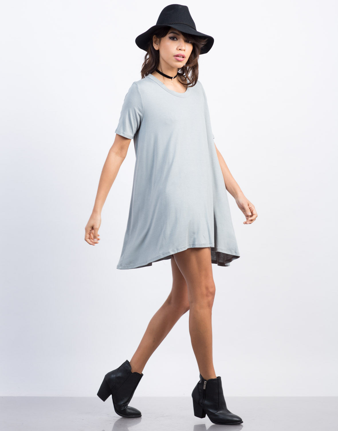 Side View of Flowy Shirt Dress