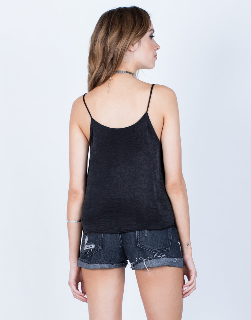 Back View of Flowy Silk Tank