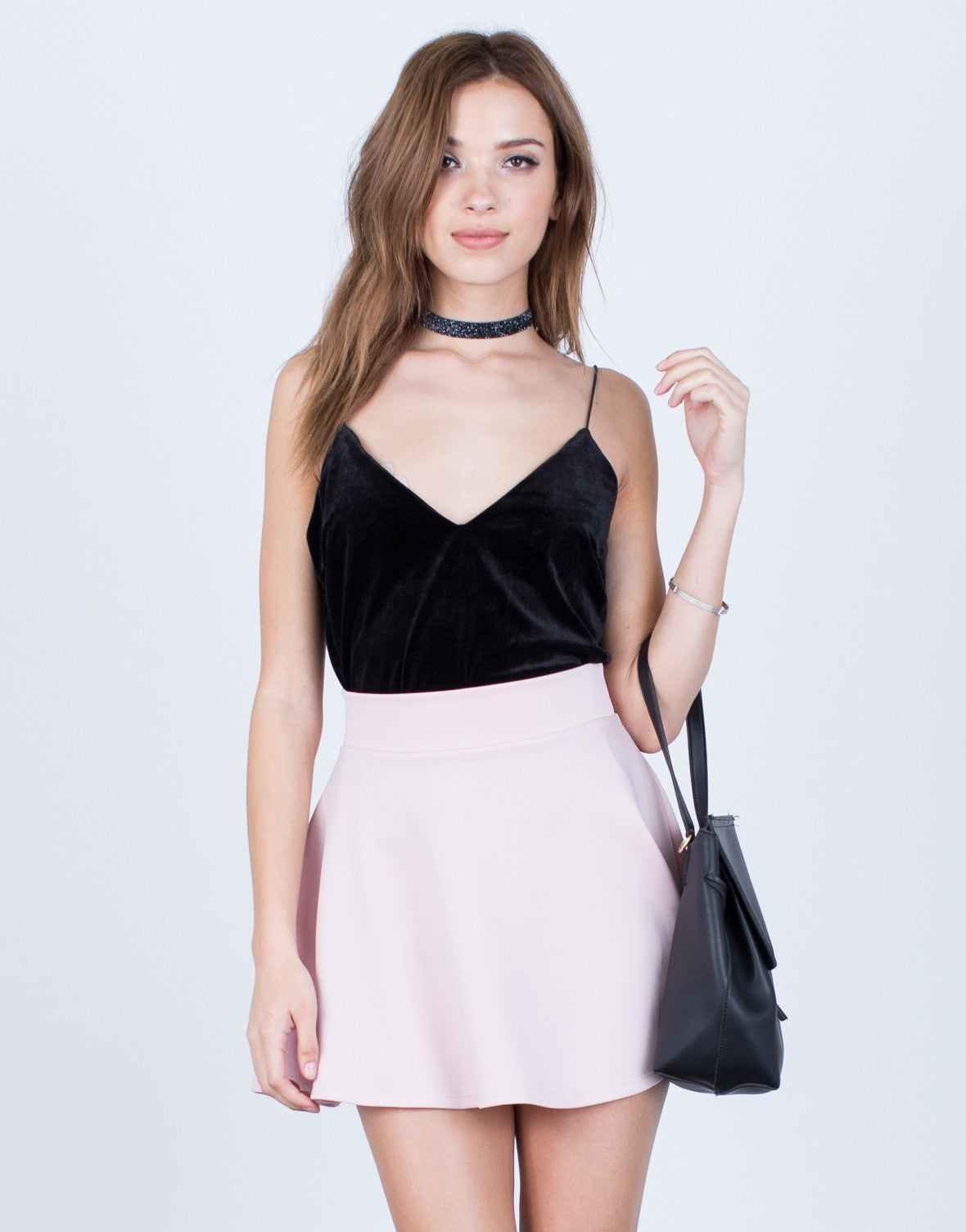 Front View of Flowy Skater Skirt