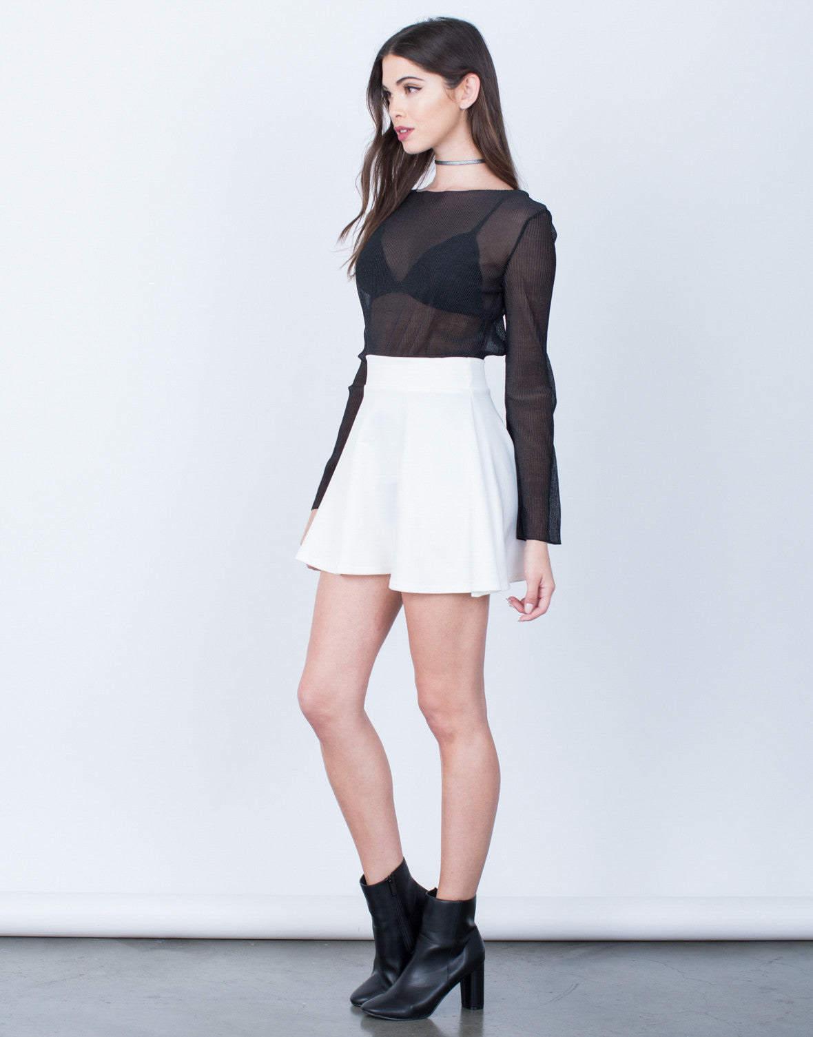 Side View of Flowy Skater Skirt