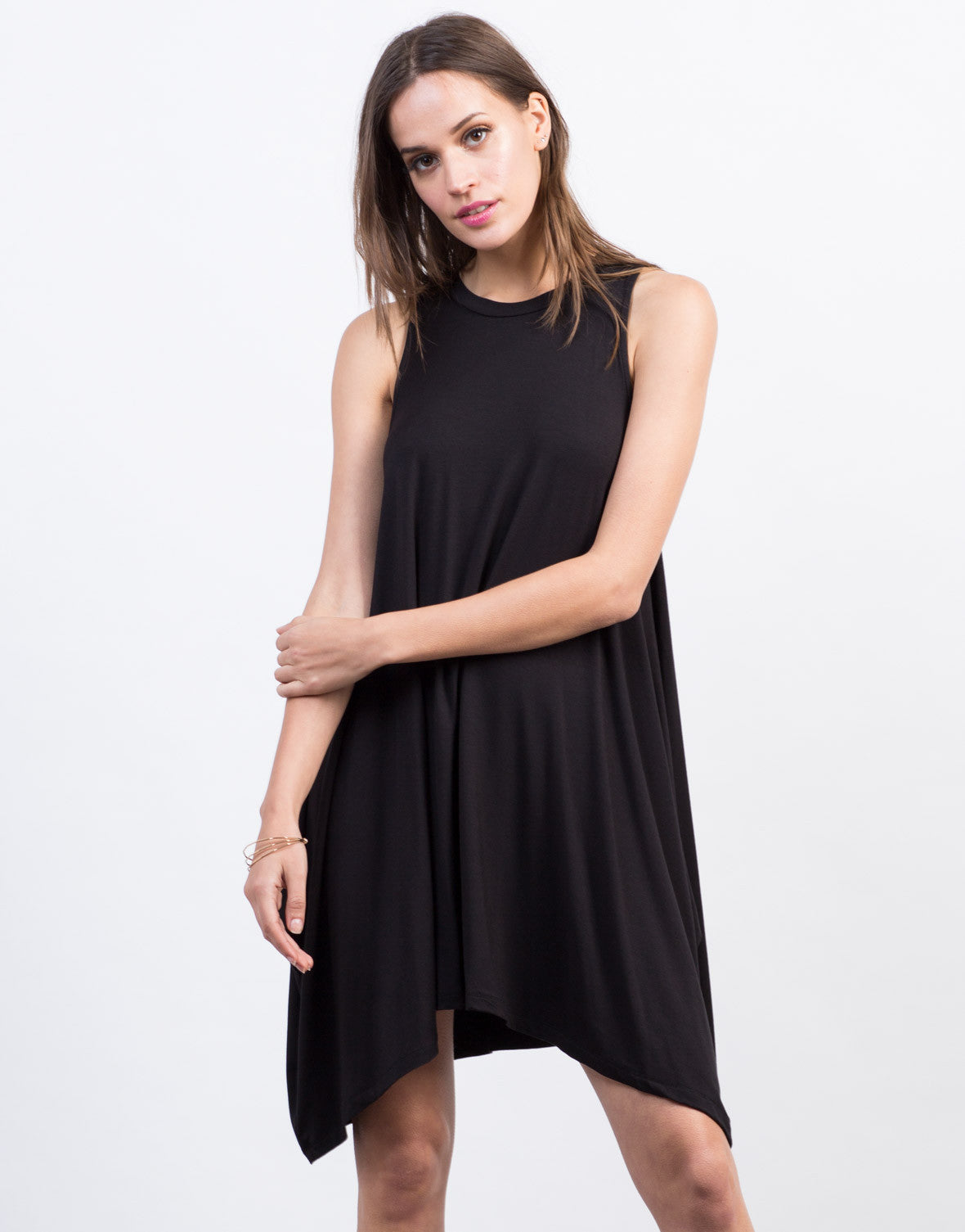Front View of Flowy Sleeveless Dress