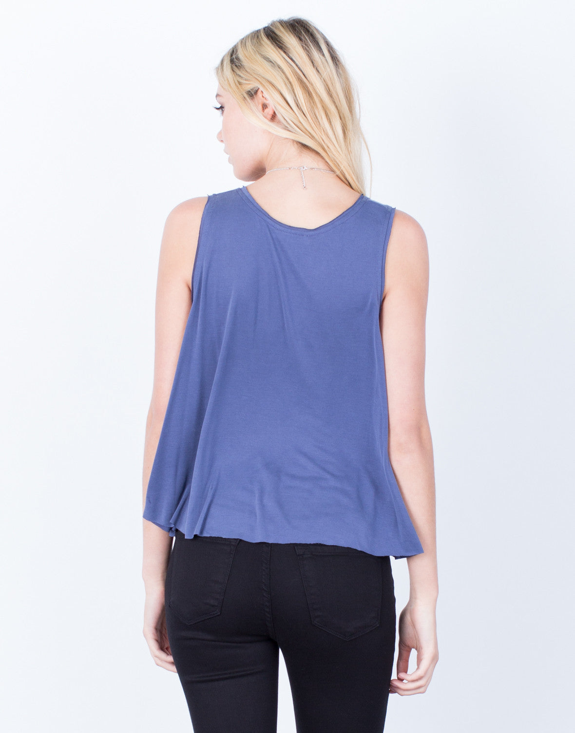 Back View of Flowy Soft Tank Top