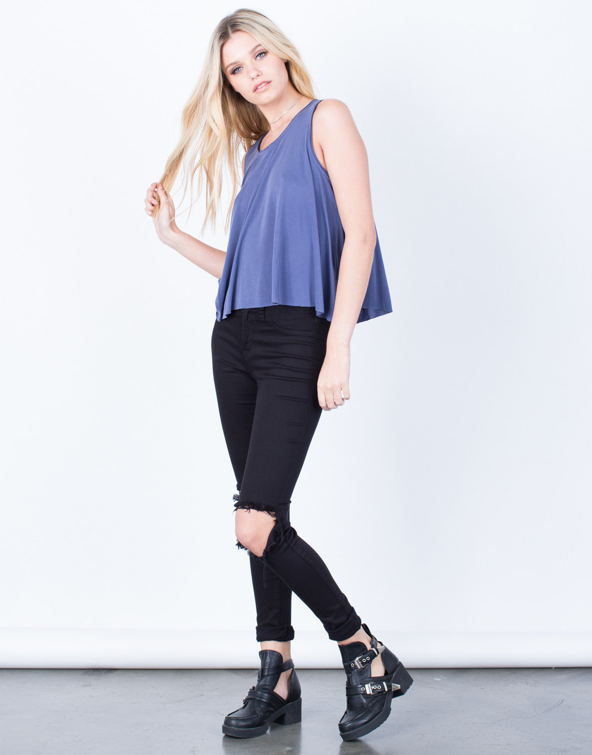Side View of Flowy Soft Tank Top