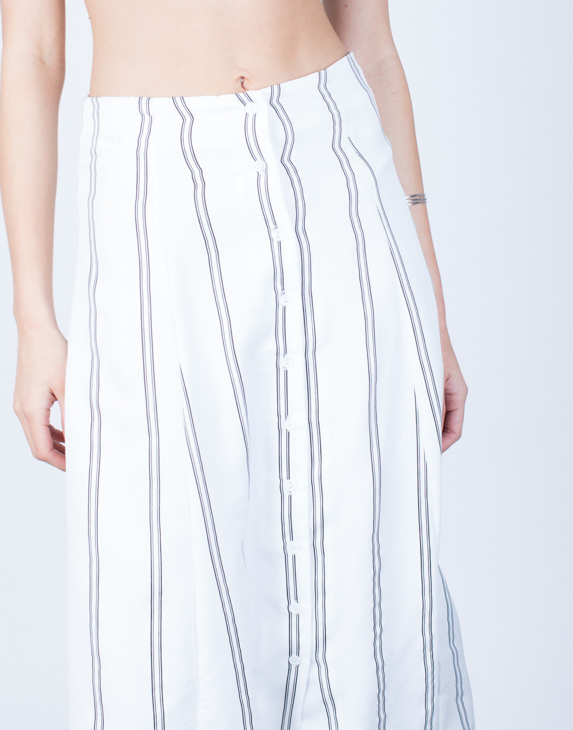 Detail of Flowy Striped Midi Skirt